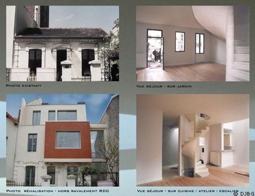 plan de maison une grande maison contemporaine sur une petite surface. Black Bedroom Furniture Sets. Home Design Ideas