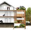 Plan de maison: une extension lourde pour une réalisation légère dans les Hauts-de-Seine (92)