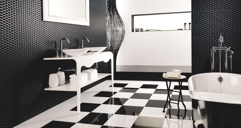 Carrelage de salle de bains ace blanco negro Porcelanosa
