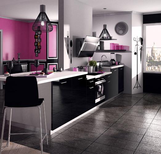 Une cuisine noire pour une d co lumineuse - Cuisine design noir et blanche ...
