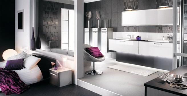 am nager une salle de bains dans la chambre. Black Bedroom Furniture Sets. Home Design Ideas