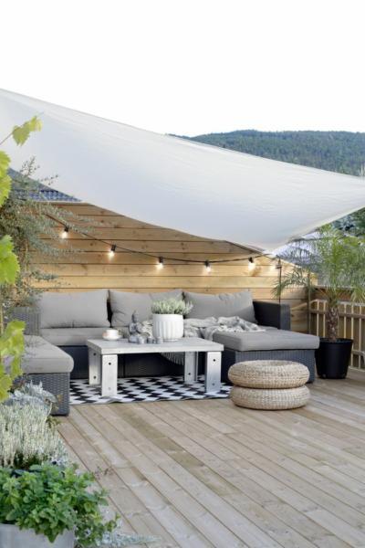 Terrasse avec toile solaire © Pinterest