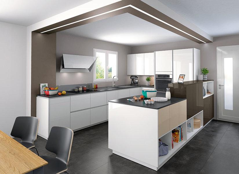 cuisine ouverte amenagement en u ambiance moderne niches 1 981x713. Black Bedroom Furniture Sets. Home Design Ideas