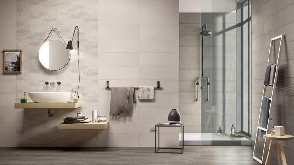Carrelage salle de bains Marazzi collection Clayline Espace Aubade