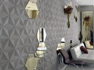 Carrelage béton et miroirs hexagonaux Daniel Ogassian