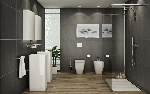 salle de bains moderne douche l 39 italienne. Black Bedroom Furniture Sets. Home Design Ideas